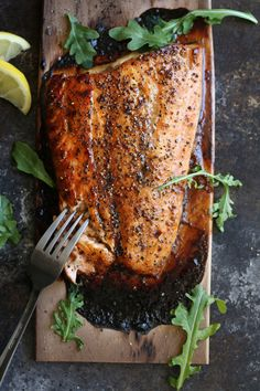Cedar Plank Salmon with Brown Sugar & Black Pepper — recipe from Cooking with Cocktail Rings