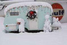 Vintage trailer in winter