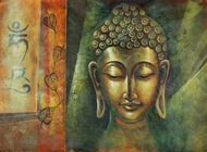 Calm and Silent Buddha (FR_1523_12358) - Handpainted Art Painting - 36in X 24in