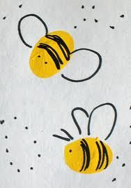 Thumbprint Bumblebees: Paint, color and cut out; glue to end of floral wire and add to those moss gardens and grass terrariums.