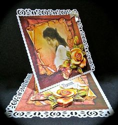 Autumn Roses Twisted Easel Mini Kit on Craftsuprint designed by Robyn Cockburn - made by Cynthia Massey - Following Robyns instructions I made up as a twisted easel, the base and the topper was first mounted onto cream pearlised card with two sides punched, decoupaged with foam pads, added my own 'special friend' sentiment as the stopper and 2 cream bows. - Now available for download!