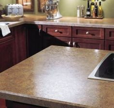 Laminate kitchen countertops with a bevel edge Refinish Countertops, Laminate Countertops, Kitchen Countertops, Cheap Countertops, Diy Kitchen, Kitchen Decor, Kitchen Design, Kitchen Ideas, Kitchen Tips