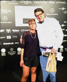 Eduardo Muga, con nuestra amiga Sara Coleman en la presentación de la colección primavera verano 2014 de la diseñadora en el Mercedes-Benz Fashion Week Madrid. #MBFWM