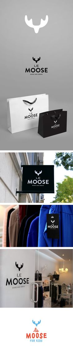 Le Moose identity en branding - Design by Alexandre Mendes Brand Identity Design, Graphic Design Branding, Logo Branding, Web Design, Logos Online, 2 Logo, Visual Identity, Corporate Identity, Communication Design