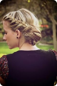 The bun is a little too casual for the wedding but I like the braid part