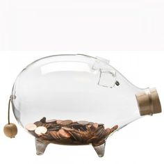 Glass Pig Bank by Furbish. The cutest place to save my pennies. I love piggies! Pig Bank, First Day Of School Activities, Home Decor Furniture, Big Kids, Home Accessories, Home Goods, Eye Candy, Metal, Glass