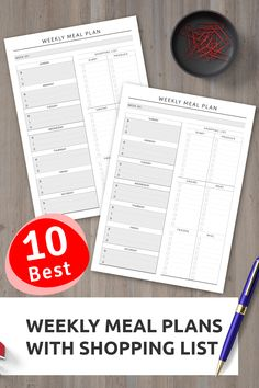 Weekly Meal Plan with Shopping List - Original Style Weekly Meal Plan Template, Meal Planner Template, Weekly Planner Printable, List Template, Templates, Monthly Meal Planner, Diary Planner, Planner Ideas, Meals For The Week