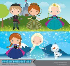Frozen Princess Set Clipart  Instant Download  PNG by araqua, $5.00