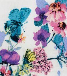 Fashion Bottomweight- Sateen Butterfly Multi White Fabric