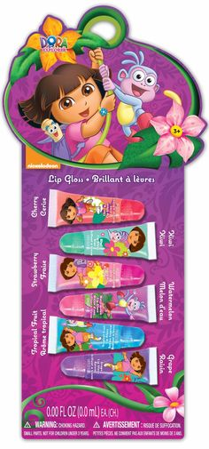 Dora the Explorer Lip Gloss Tubes, 6 Count (Pack of 6). 6 flavors to choose from. Beautiful glitter lip gloss. Fun, safe and non toxic.