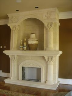 fireplace remodeling ideas | Our Coral Stone and Travertine Panels ...
