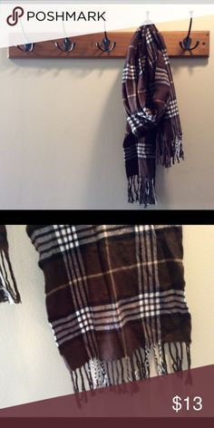 Brown Black White Plaid Scarf Brown Black White Plaid Scarf. In excellent preowned condition! Accessories Scarves & Wraps