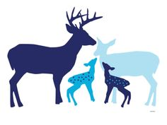 Blue Deer Print by Avalisa at eu.art.com