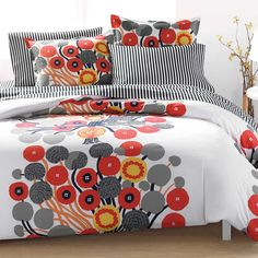Annansilma US Sized Bedding Ecru/Orange/Grey