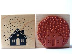 Weihnachtsstempel - Stempel Haus im Schnee Winter Weihnachten - ein Designerstück von Frau_Zwerg bei DaWanda