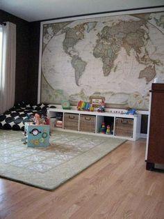 Wereldkaart in kinderkamer