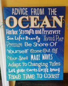 Diy canvas homemade art.  Advice from the ocean. #cateclancyoriginal