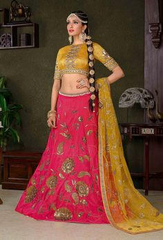 Bring in your fabulous looks with this Pink & Yellow Designer Lehenga Choli avatar! The awesome Sequins & Zari thread Embroidery on the Lehenga says it all. Choli Dress, Lengha Choli, Lehenga Saree, Anarkali, Indian Dresses, Indian Outfits, Indian Clothes, Floral Print Sarees, Bridal Lehngas