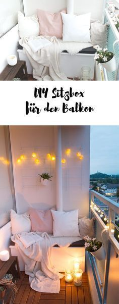 DIY seat box & tips for a cozy balcony- DIY Sitzbox & Tipps für einen gemütlichen Balkon Build a seatbox for the balcony – this is how to make your balcony comfortable for the summer - Decoration Bedroom, Decoration Table, Diy Home Decor, Decorations, My New Room, My Room, Diy Casa, Diy Décoration, Cozy House