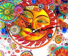 """Купить Часы """"Солнце"""" Витражная роспись стекла - разноцветный, часы настенные, часы интерьерные"""