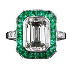 Art Deco Style ~ Emerald Cut Diamond Emerald Ring
