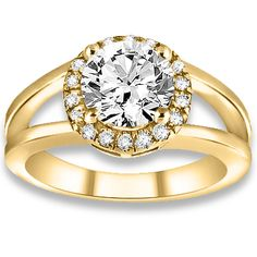 0.60 ctw 14k YG Natural H-I Color, SI Clarity, Accent Diamonds Engagement Ring #engagementrings #diamondrings #fancyrings @pricepointshop