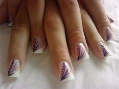 French Manicure Purple Decorations Nails Nail Design, Nail Art, Nail Salon, Irvine, Newport Beach