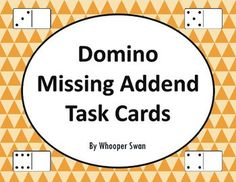 Domino Missing Addend Task Cards https://www.teacherspayteachers.com/Product/Domino-Missing-Addend-Task-Cards-2039851 #math #dominomath #missingaddent #domino #TaskCards #scoot #tpt #teacherspayteachers #mathematics