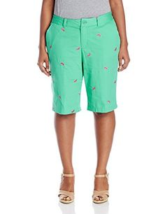 Caribbean Joe Womens PlusSize Embroidered Watermelon Short Summer Mint 16 *** Visit the image link more details.