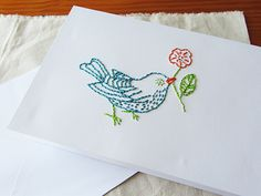 DIY Embroidered Birdie Card