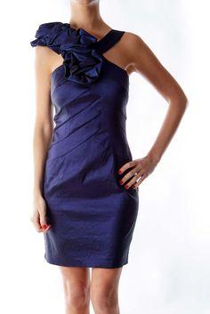 79ba73d06d Sophisticated blue satin ruffle dress by Cache