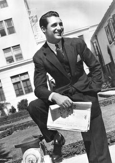 Early photograph of Cary Grant at Paramount Studios, 1930.