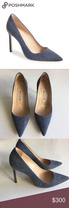 """Manolo Blahnik BB Denim Pumps Gently Used Scuff on soles *Condition :8/10 -Includes: 1 Dustbag (No box) -Scoffs on soles(does not show when you wear) -Denim is completely intact  DESCRIPTION Timeless point-toe pump cast in denim-like look Self-covered heel, 3.5"""" (90mm) Polyester upper Point toe Leather lining and sole Made in Italy Manolo Blahnik Shoes Heels"""