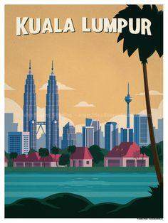 IdeaStorm Studio Store — Travel Posters - World Destinations Art Deco Posters, Poster Prints, Destinations, City Drawing, Poster City, Tourism Poster, Malaysia Travel, Skyline Art, Travel Illustration