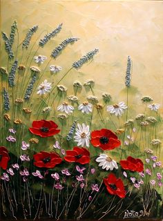 « My Lovely Place » Original art moderne contemporain peinture. Texture de palette de Knife.Impasto.Flower,Poppy.Landscape.Wildflowers.Thick. Décor
