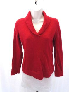 SARAH SPENCER Women's Sweater Cherry Red Petite Women's Small  #SarahSpencer #VNeck