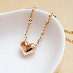 presente para namorada clássico (coraçãozinho) banhado a ouro colar de pingente (ouro, prata) (1 pc) – BRL R$ 20,66