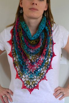 crocheted shawl♥... her modifications for a free lion brand pattern...