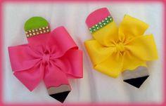 Pencil Bow…Pencil Hair Bow…Uniform Hair Bow…Back to School Hair Bow…Navy hair bow…yellow h - Hair Hot Pink Hair, Pink Hair Bows, Yellow Hair, School Hair Bows, Navy Hair, Hair Bow Tutorial, Flower Tutorial, Back To School Hairstyles, Baby Girl Bows