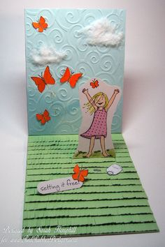 Pop up Card ~*~ Happiness Is rubber stamp set ~*~ from Red Rubber Designs www.RedRubberDesigns.com