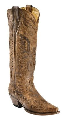 Corral Vintage Brown Eagle Overlay Tall Cowgirl Boots - Snip Toe available at #Sheplers