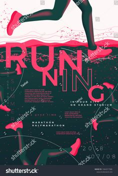 Vector Typographic Running Poster Template Runners Stock Vector (Royalty Free) 1064317586 - Vector typographic running poster template, with runners, grunge textures, and place for your texts - Sports Graphic Design, Graphic Design Posters, Graphic Design Inspiration, Marathon Posters, Running Posters, Sports Graphics, Festival Posters, Banners, Scouting