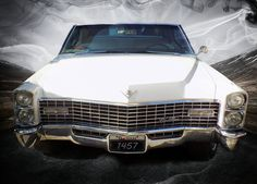 White Cadillac in the Country Road