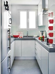 Make you confused choosing a minimalist kitchen design to fill your dream home. Here we share tips & tricks and inspiration minimalist kitchen ideas that suits your style. Small U Shaped Kitchens, Small Modern Kitchens, Home Kitchens, Kitchen Layout, Kitchen Decor, Kitchen Ideas, Kitchen Designs, Ikea Kitchen, Mini Kitchen