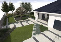 ogród ze skosami Outdoor Doors, Front Yard Landscaping, Home Projects, Entrance, Furniture Design, Sidewalk, Home And Garden, Landscape, Architecture