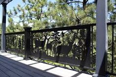 Artistic #deer #railing panels for your #deck, #balcony or #stairs.  Durable powder coated steel or aluminum. Never needs painting. Visit our website for more ideas. www.NatureRails.com