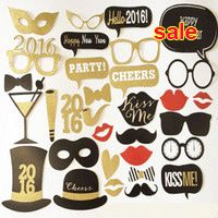 DIY Funny Photo Booth Props, Gold Glasses, Happy New Year, Mustache, Lips, Hat, Wedding Photo Booth Props on a Stick Circus Carn Online with $12.65/Piece on Aozhouqie's Store | DHgate.com