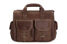 Image of Handmade Vintage Leather Briefcase, Messenger Bag, Men's Handbag 7106