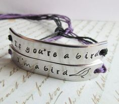 Set of 2 Bracelets If You're A Bird I'm a Bird Best Friends Hand Stamped Tie On Hemp Cord Friendship