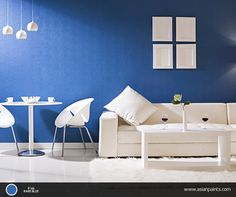 The calming effect of blue and the peacefulness of white can give your room a majestic setting.     Explore many such colour combinations on our Inspiration wall: http://www.asianpaints.com/get-inspired/inspire-yourself/inspiration-wall.aspx
